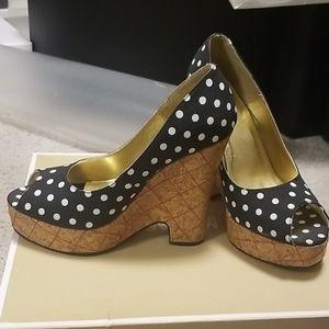 Polka dot wedge heels